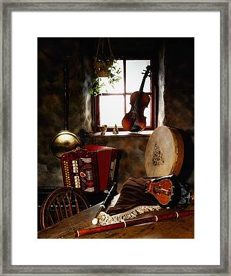 Traditional Musical Instruments, In Old Framed Print by The Irish Image Collection