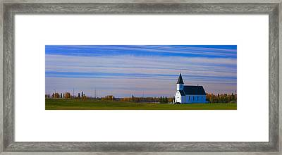 Traditional Prairie Steeple Church In Framed Print by Corey Hochachka