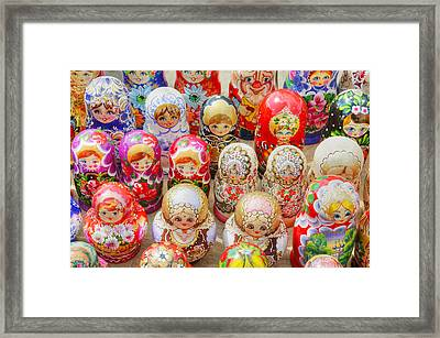 Traditional Russian Nested Dolls For Sale Framed Print by Travelif