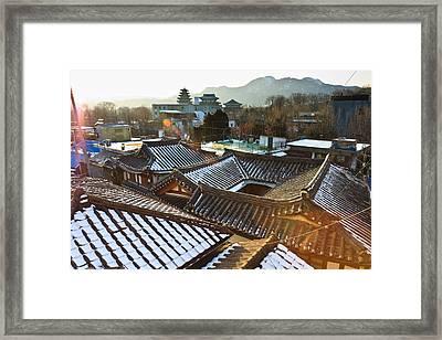 Traditional Tiled Roof Framed Print by SJ. Kim