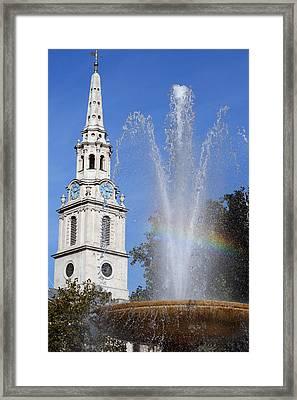 Trafalgar Square Rainbow Vertical Framed Print