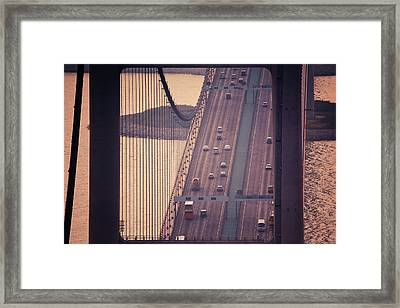 Traffic On Tsing Ma Bridge, Hong Kong, China Framed Print by Yiu Yu Hoi