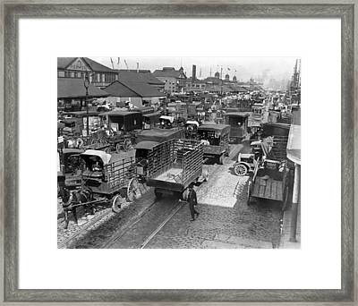 Traffic On West Street In Ny Framed Print