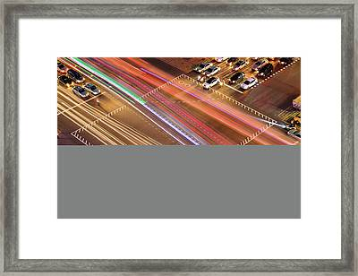 Traffic Trails Of Intersection Framed Print