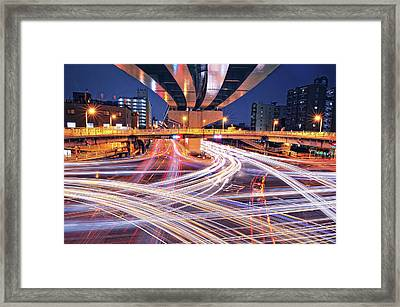 Traffic Trails Framed Print by Y2-hiro