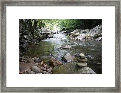 Trail Marker By The Stream Painting Framed Print by Mike Lytle