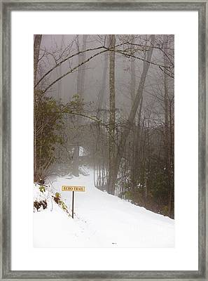 Trailhead Covered With Snow Framed Print by Will and Deni McIntyre