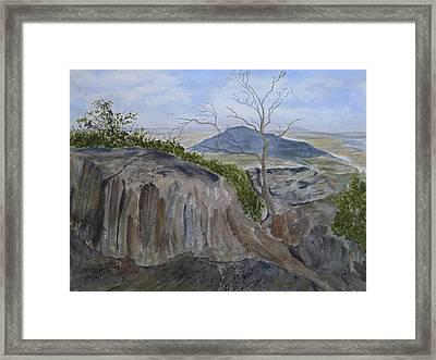 Trails End - Rocks Trees And Sky Framed Print by Joel Deutsch