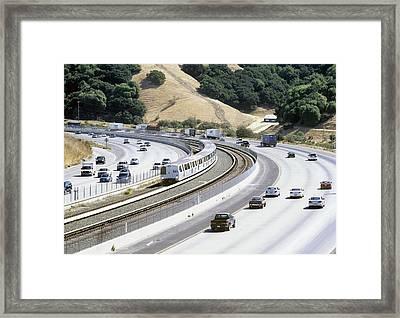 Train And Motorway, California, Usa Framed Print by Martin Bond