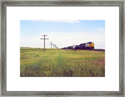 Train And Poles Framed Print by Trent Mallett