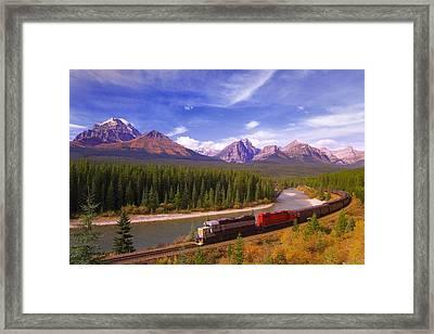 Train In Banff National Park Framed Print