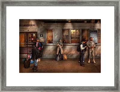Train - Station - Waiting For The Next Train Framed Print by Mike Savad