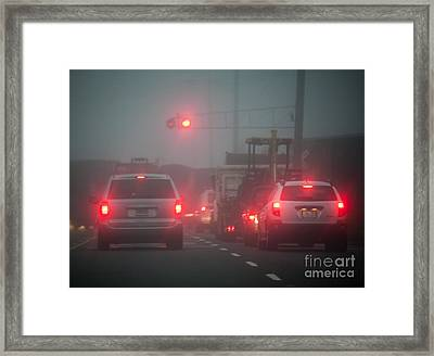 Train Stopping Traffic Framed Print by David Buffington