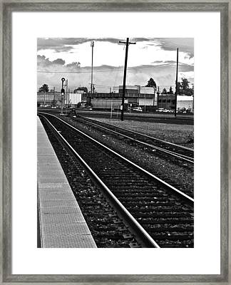 Framed Print featuring the photograph train tracks - Black and White by Bill Owen