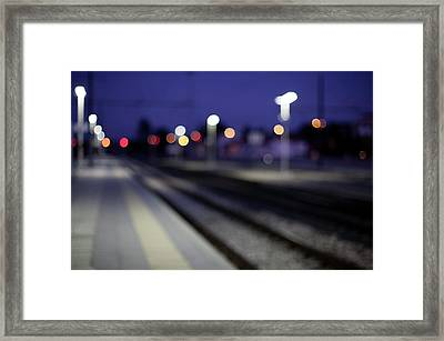 Train Tracks At Night Framed Print