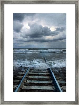 Train Tracks Into The Sea Framed Print