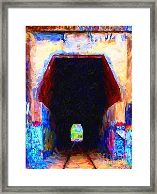Train Tunnel With Graffiti Framed Print by Wingsdomain Art and Photography