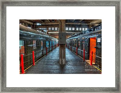 Trains - Two Rail Cars In Roundhouse Framed Print by Dan Carmichael