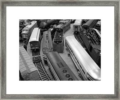 Trains 2 Bw Framed Print by Elizabeth Sullivan
