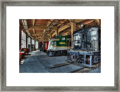Trains - Engines Railcars Caboose In The Roundhouse Framed Print by Dan Carmichael