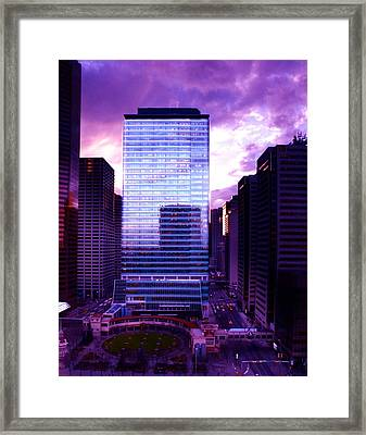 Framed Print featuring the photograph Transalta Building Purple by JM Photography