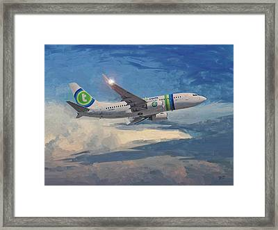 Framed Print featuring the painting Transavia Boeing 737 No2 by Nop Briex