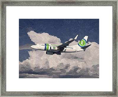 Framed Print featuring the painting Transavia Boeing 737 by Nop Briex