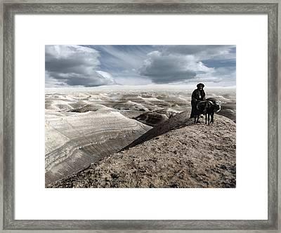 Traveling Through The Desert Framed Print by Munir Alawi