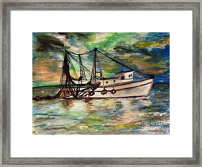 Trawling Framed Print by Isabella F Abbie Shores FRSA