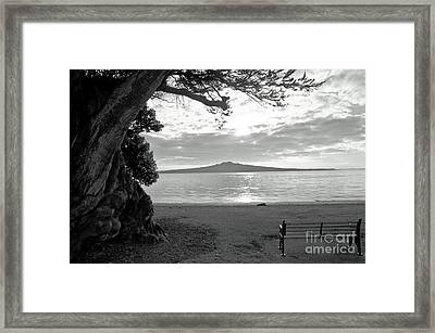 Tree And Ocean And Bench And Volcano Framed Print
