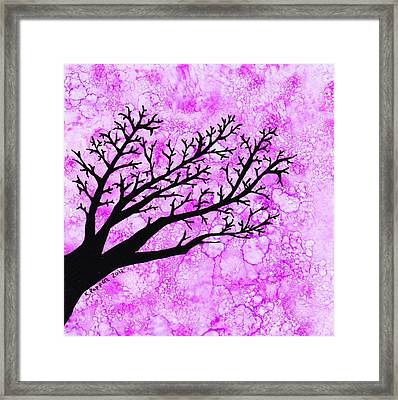 Tree Branch On Pink Splash Framed Print by Karen Pappert