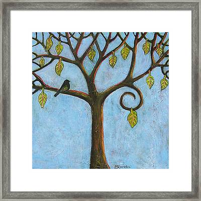 Tree Of Life Blue Sky Framed Print by Blenda Studio