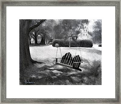 Tree Swing In Grand Coteau Framed Print by Ron Landry