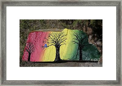 Tree With Lovebirds Framed Print by Monika Shepherdson