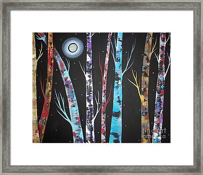 Trees And Moon Framed Print by Karla Gerard