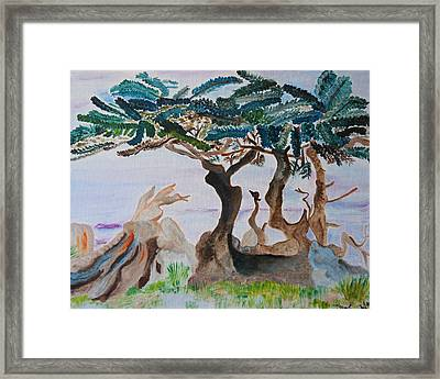 Framed Print featuring the painting Trees By The Sea by Meryl Goudey