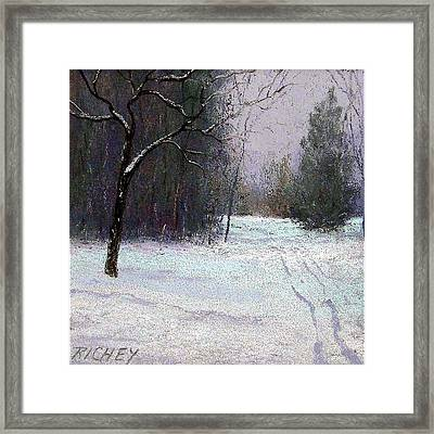Trees In A Winter Fog Framed Print by Bob Richey