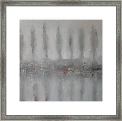 Trees In The Mist By The River Yar Framed Print by Alan Daysh
