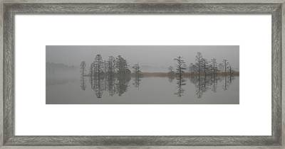 Framed Print featuring the digital art Trees In The Mist Panorama by Claude McCoy