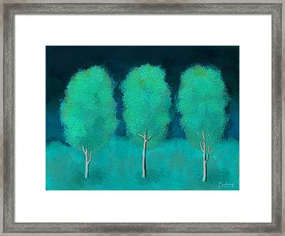 Trees In Triplicate Moonlit Winter Framed Print