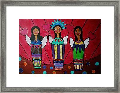 Tres Angelicas II Framed Print by Pristine Cartera Turkus