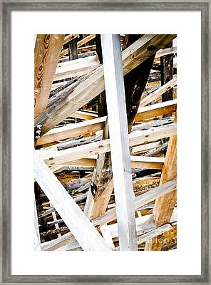 Trestle Beams Kinsol Trestle Wooden Beams Of The Railroad Bridge Framed Print by Andy Smy