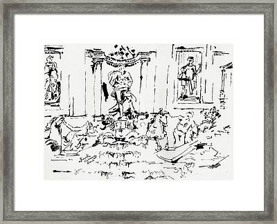 Trevi Fountain Rome Italy Ink Drawing By Ginette Framed Print by Ginette Callaway