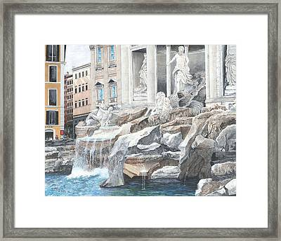 Framed Print featuring the painting Trevi Fountain Rome by Stuart B Yaeger