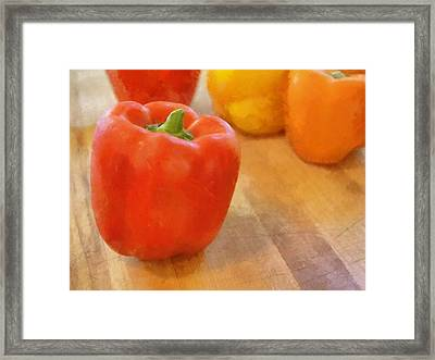 Tri Colored Peppers Framed Print by Michelle Calkins
