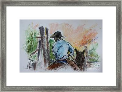 Triangle X Ranch Wrangler Jackson Hole Framed Print by Paul Miller