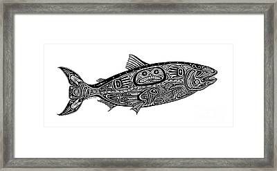 Tribal Salmon Framed Print by Carol Lynne
