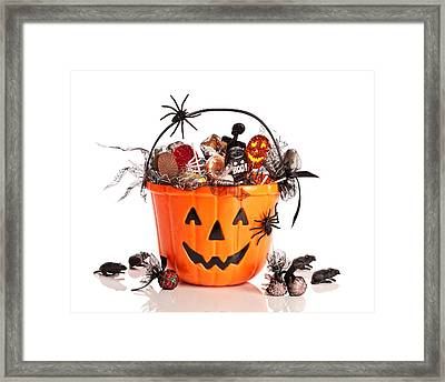 Trick Or Treat Halloween Bucket Framed Print by Amanda Elwell
