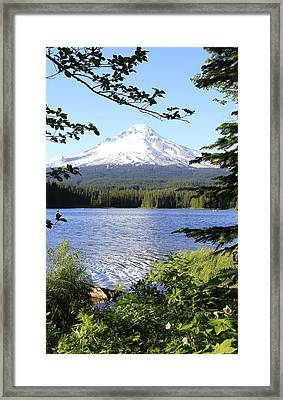 Trillium Lake At Mt. Hood Framed Print by Athena Mckinzie