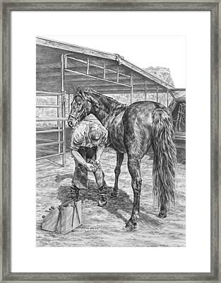 Trim And Fit - Farrier With Horse Art Print Framed Print by Kelli Swan